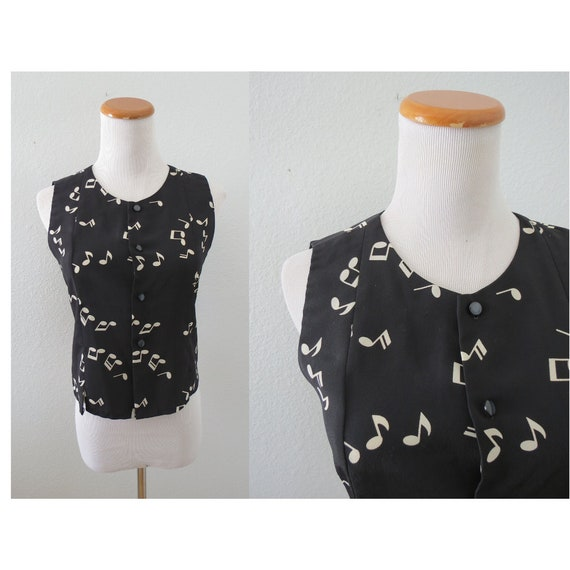 Music Notes Blouse Novelty Print Top