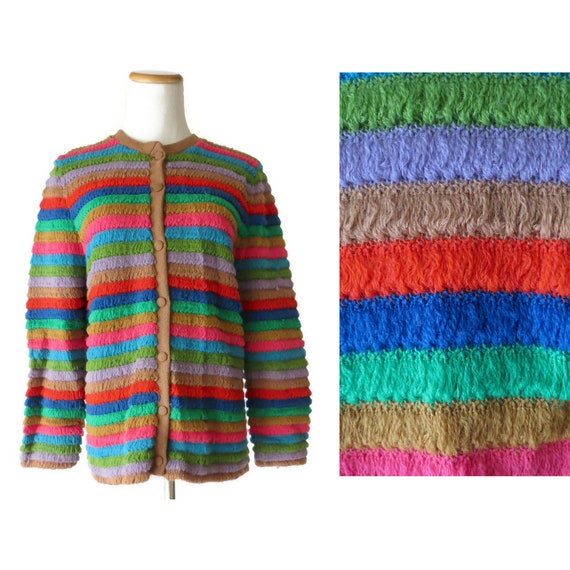 d49698fd919522 Rainbow Cardigan Sweater Vintage Knit Crochet Striped Sweater