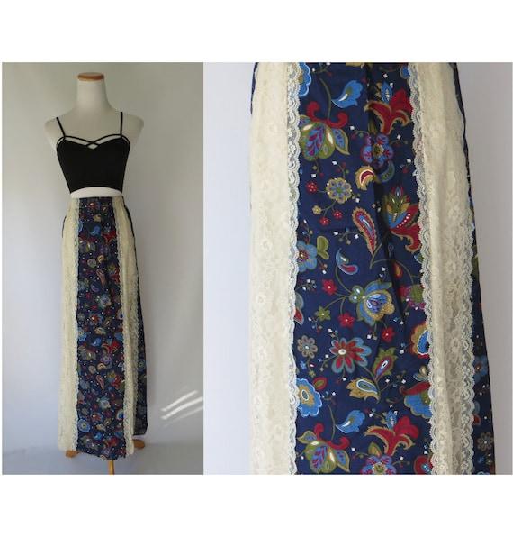 70's Maxi Skirt / Hippie Skirt / Prairie Maxi Skirt / Tumbleweeds Skirt / Size Medium / 1970's Long Skirt / Floral Lace Skirt / Festival