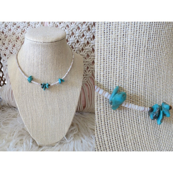 Turquoise Chip Choker Beaded Shell Necklace
