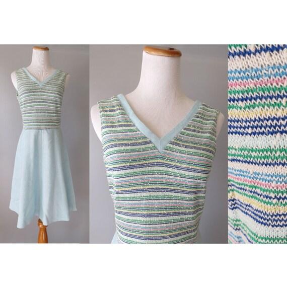 70's Mod Mini Dress / Pastel Striped Dress / Scooter Dress / 1970's Mini Dress / Rainbow Striped Dress / Size Medium M / Mod Scooter Dress