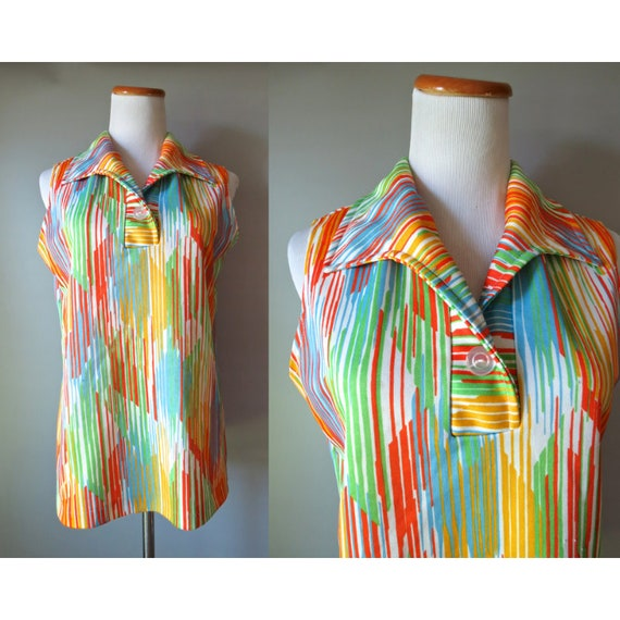 Rainbow Blouse Psychedelic Print Top 70's Sleeveless Blouse Op Art 1970's Abstract Print Size Medium M