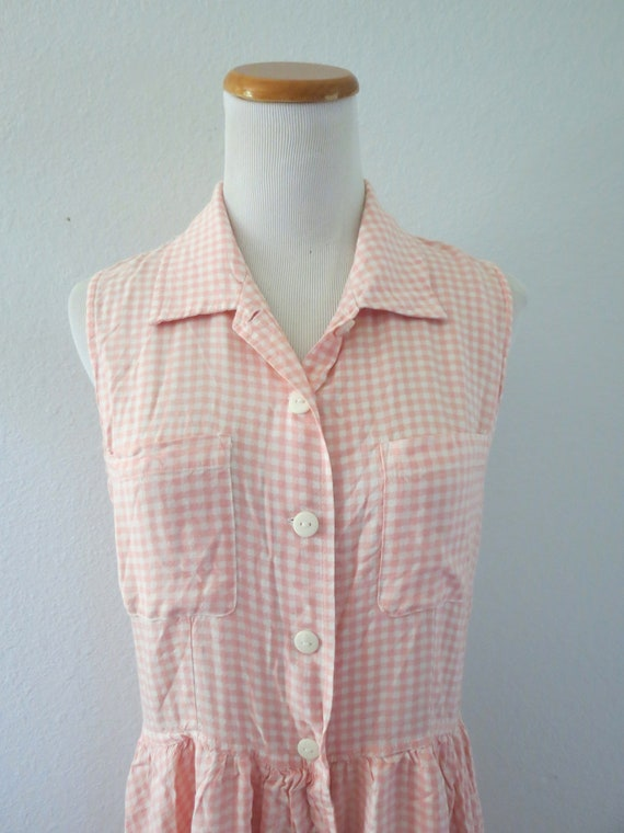 90s Romper Pink Gingham Rayon Playsuit - image 3