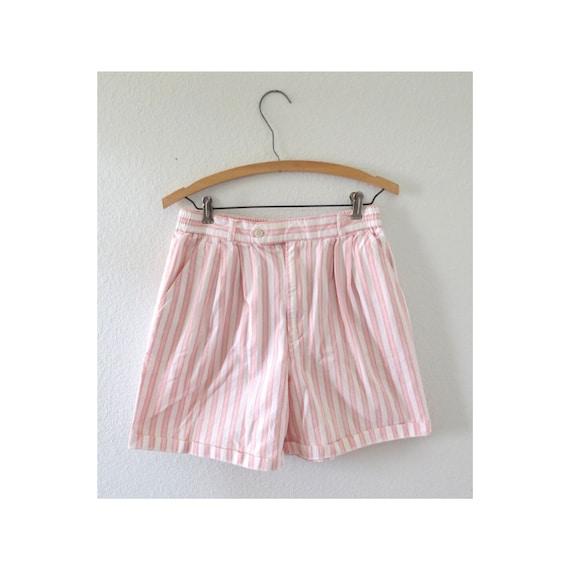 Vintage 80s Shorts Pink Striped High Waist Short