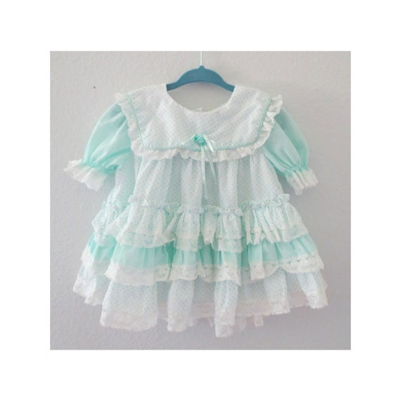 Vintage Baby Dress Pastel Lace Ruffled