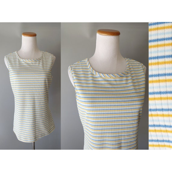 Mod Tank Top / 60's Striped Top / 1960's Sleeveless Blouse / Striped Tank / Size Medium / 70's Tank Top / Yellow Blue White / 1970's Top
