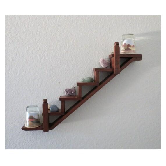 Stair Shelf Wood Wall Display Curio Trinket Holder