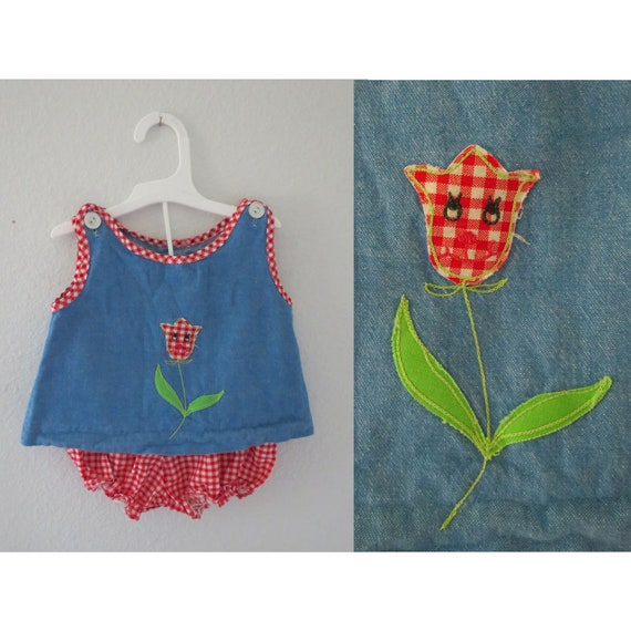 Vintage Baby Outfit Girls Denim Gingham Set