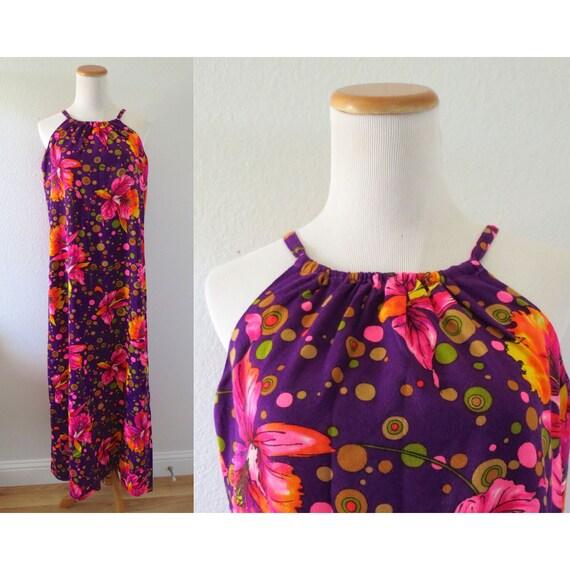 Hawaiian Maxi Dress 70s Halter Sundress