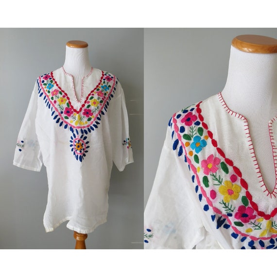 Vintage Mexican Blouse / Embroidered Tunic Top / Oaxacan Blouse / Hippie Peasant Blouse / Boho Top / 70's Blouse / Size Large L XL