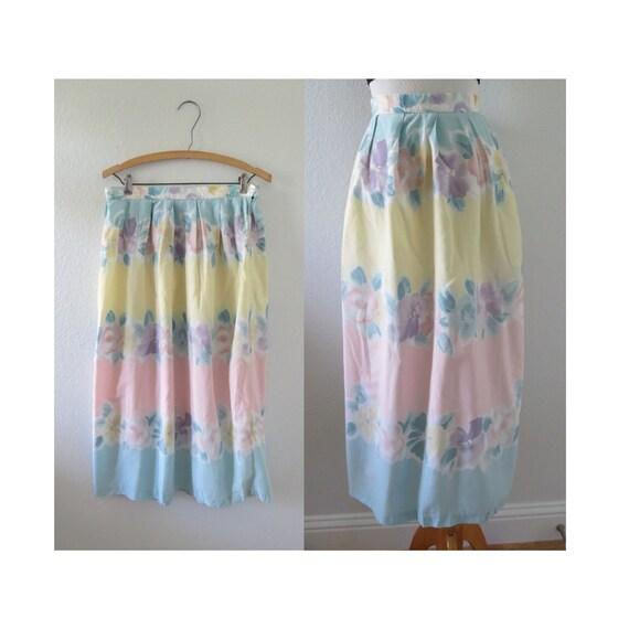Pastel Midi Skirt Floral Summer High Waisted Skirt