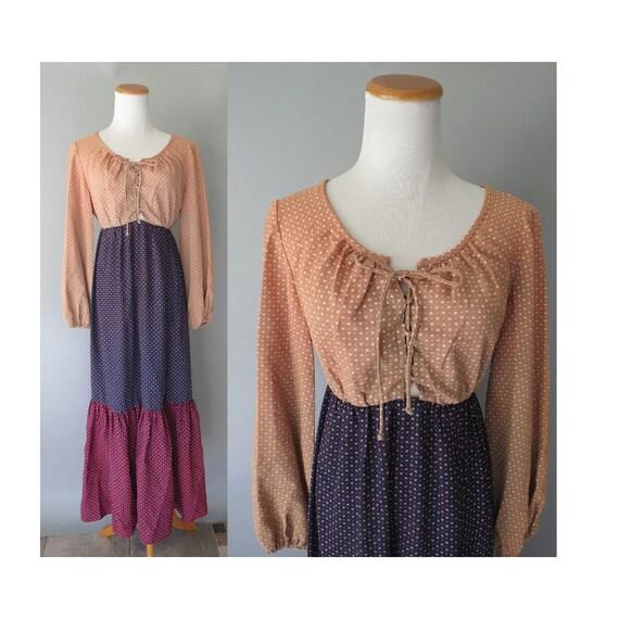 Hippie Maxi Dress 70s Heart Print Prairie Dress