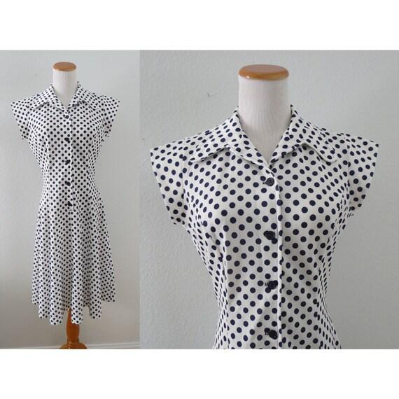 Mod Polka Dot Dress 60s Day Dress
