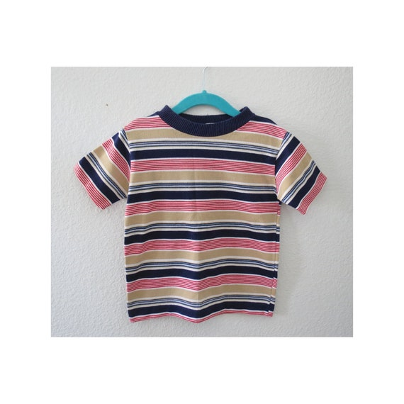Vintage Boys Shirt Striped T-shirt 70s Top
