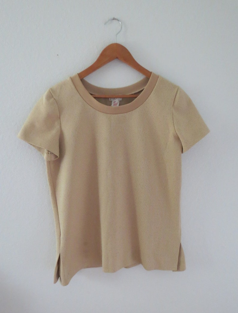 Mod Blouse 60s Beige Polyester Top