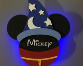 Sorcerer Mickey Disney Cruise Line wooden Door Magnet with LED lights, Disney cruise door magnet