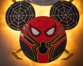 Iron Spiderman Wooden Door Magnet with LED Lights, Marvel Day at Sea, Mickey Spiderman, Disney cruise door magnet