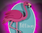 Pink Flamingo Wooden Door Magnets with LED Lights for cruise door magnet, vacation magnet