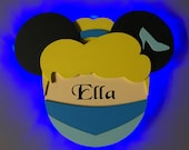 Cinderella Princess Disney cruise Door Magnets with Lights, Princess Minnie, Cinderella Minnie, Minnie Princess, glass slipper