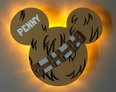 Chewbacca Star Wars Disney Cruise Line Wooden Door Magnets with Lights, Disney cruise door magnet, Star Wars Day at Sea