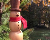 Wooden Snowman Ornament - Let it Snow on My Turned Snowman!