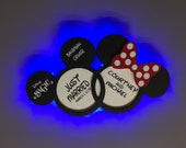 Just Married, Anniversary, Wooden Door Magnets with LED lights for Disney cruise line, Mickey and Minnie in Love, Disney cruise door magnet