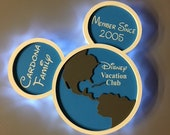 Disney Vacation Club Wooden Door Magnets, with LED Lights, Disney cruise door magnet, Welcome Home magnet