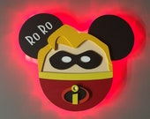 Mr. Incredible Disney Cruise Line wooden Door Magnet with LED lights, Disney cruise door magnet