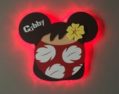 Lilo DCL Door Magnets made from wood with LED lights, Lilo and Stitch, Disney cruise door magnet
