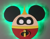 Jack Jack from the Incredibles, Disney Cruise Line wooden Door Magnet with LED lights, Disney cruise door magnet