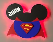 Superman Mickey, Super Hero Wooden Door Magnets with Lights for Disney cruise, Disney cruise door magnet