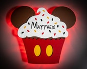 Cupcake Mickey Magnet, Disney Snack Magnets for Disney Cruise Door Magnets with LED lights, Birthday Mickey Celebration, Mickey cupcake