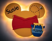 Winnie the Pooh Door Magnet with LED Lights, Pooh Mickey for Disney Cruise Line, Pooh Bear, Hundred Acre Wood Disney cruise door magnet