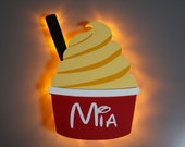 Dole Whip Magnet, Disney Snack Magnets for Cruise Line Wooden Door Magnets with LED lights