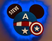 Captain America Super Hero Wooden Door Magnets with Lights for Disney cruise, Marvel Mickey, Marvel Day at Sea, Disney cruise door magnet
