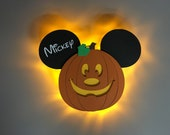 Pumpkin Mickey Door Magnets made from wood with LED lights, Halloween Mickey, Halloween on the High Seas, Disney cruise door magnet