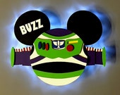 Buzz Lightyear Mickey Disney Cruise Line wooden Door Magnet with LED lights, Toy Story Mickey Magnet, Disney cruise door magnet