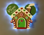 Christmas Gingerbread house Mickey Disney Cruise Door Magnet with LED lights, Wooden magnet, Very Merrytime Cruise magnet