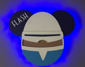 Frozone from the Incredibles, Disney Cruise Line wooden Door Magnet with LED lights, Disney cruise door magnet