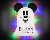 Ghost Mickey Disney cruise door magnets for cruise, personalized wooden door magnets with LED backlighting, Halloween on the High Seas