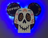 Coco Mickey Disney Cruise Line wooden Door Magnet with LED lights, Day of the Dead Mickey, Sugar Skull Mickey, Disney cruise door magnet