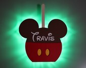 Candy Apple Mickey Magnet, Disney Snack Magnets for Cruise Line Wooden Door Magnets with LED lights, Disney cruise door magnet