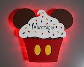 Cupcake Mickey Magnet, Disney Snack Magnets for Cruise Line Wooden Door Magnets with LED lights, Birthday Mickey Celebration