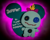 Scrump, Voodoo Doll, DCL Door Magnets made from wood with LED lights, Disney cruise door magnet, Lilo and Stitch