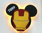 Iron man Super Hero Wooden Door Magnets with Lights for Disney cruise, Disney cruise door magnet, Marvel Day at Sea