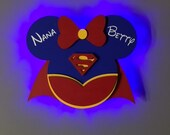 Super Girl Super Hero Wooden Door Magnets with Lights for Disney cruise, Super Woman, Disney cruise door magnet