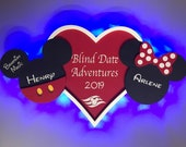 Mickey and Minnie in Love, Just Married, Anniversary, Disney cruise Door Magnets w/ LED lights, Mickey and Minnie in Love