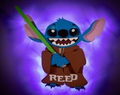 Stitch Jedi DCL Door Magnets made from wood with LED lights, Disney cruise door magnet, Star Wars Stitch