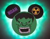 Hulk Wooden Door Magnet with LED Lights, Marvel Day at Sea, Hulk Mickey, Disney cruise door magnet