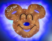 Mickey Pretzel Magnet, Disney Snack Magnets for Cruise Line Wooden Door Magnets with LED lights, Disney cruise door magnet